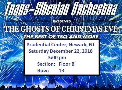 2 Tickets, Floor, Trans-Siberian Orchestra 12/22/18 Prudential Center (TSO)