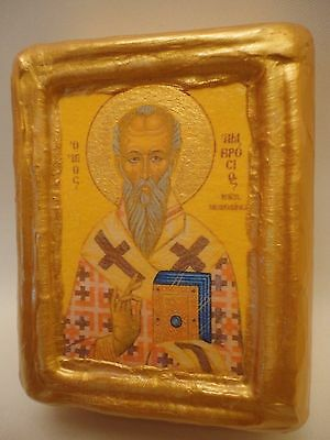 Saint Ambrosius Ambrosios Byzantine Greek Eastern Orthodox icon Art Portrait
