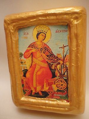 Saint Catherine Katerina Byzantine Greek Orthodox Rare Icon Art One of A Kind