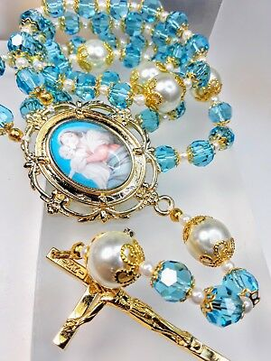 Stunning Antique Style Blue Topaz Crystal Handmade Virgin W Child Cameo Rosary