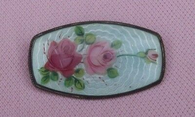 Vintage Antique Art Deco European 800 Silver Guilloche Enamel Roses Pin Brooch