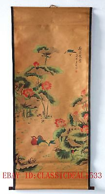 Old Collection Scroll Chinese Ink And Wash Painting/Lotus & Mandarin Duck ZH1023