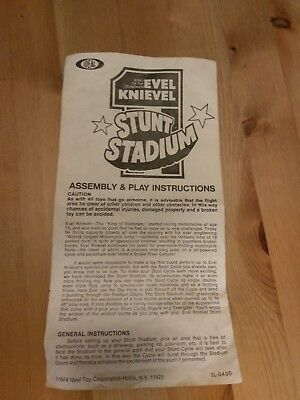 Evel KnieveL Original  Instructions For Evil Stunt Cycle Vintage Stadium Set Old