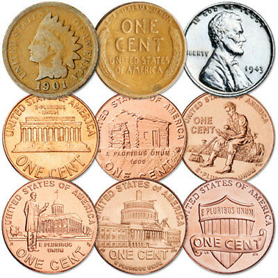 150 Years of Pennies 1860-2010 9 Coins set STEEL CENT INDIAN HEAD WHEAT + More