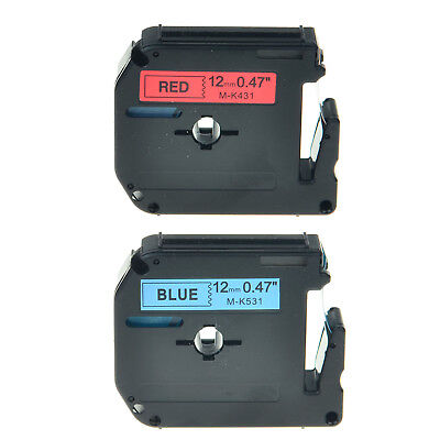 2PK 12mm MK431 MK531 Black on Blue Black on Red Compatible with Brother Printer