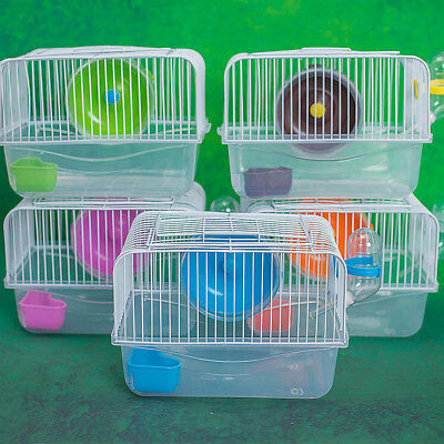 Mouse Hamster Cage Rodents With Water Bottle House Spinning Wheel Gerbil Mice