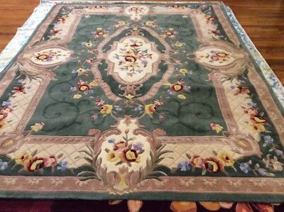 """Royal Palace Special Edition Savonnerie 8' x 10'6"""" Wool Rug Sage $725 SO NICE!"""