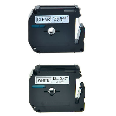 2Pack MK131 MK231 Black on Clear Black on White Compatible with Brother Printer