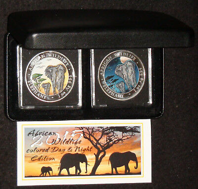 2015 Somalian Elephant Day/Night Jubilee 2 Silver Coin Set in OGP *OFF QUALITY*