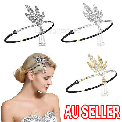 Women Hair Headpiece 1920s Flapper Pearl Headband Great Gatsby For Wedding Ball