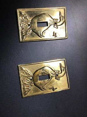 2 Vintage Heavy Brass Single Switch Light Plate Covers With Duck Design.