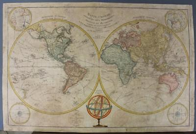1797 Poirson Very Large Antique Copper Engraved World Map In Two Hemispheres