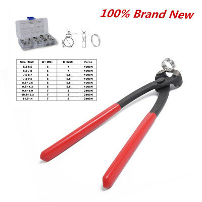 70PCS Stainless Steel Single Ear Hose Clamps with Clamp Pincer Kit, 5.3-14.0mm