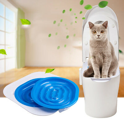 Pet Cat Toilet Training Kit System Litter Tray Seat Kitten Cleaning Supply