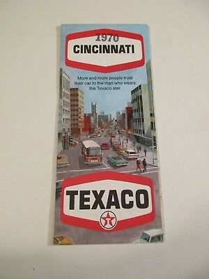 Vintage 1970 Texaco Cincinnati Ohio City Street Gas Station Road Map~Box A