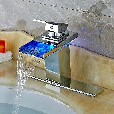LED Color Switch Chrome Waterfall Bathroom Basin Faucet Vanity Sink Mixer Cover