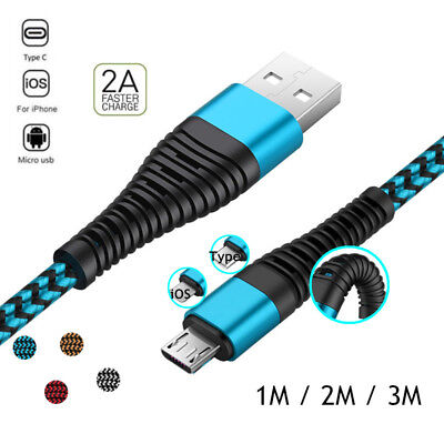 1~3M Braided High Tensile Micro USB Type C iOS USB Fast Charger Data Sync Cable