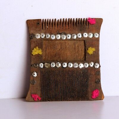 1900's  Antique Hand Carved Wooden Small Vanity Comb Kangi 10863