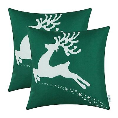 (Pack of 2, Desing B - Christmas Green) - Pack of 2 CaliTime Throw Pillow