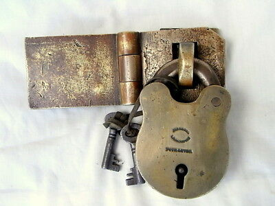 Antique Solid Brass Jacksons Launceston Tas. Lock & Door - Gate Latch & Keys