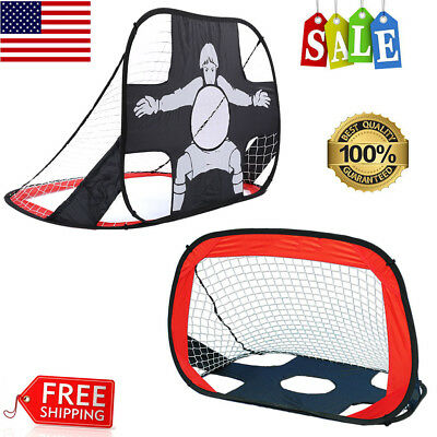 Portable 2 in 1 Kids Soccer Goal Kit Out/Indoor Practice Training w/Bag Foldable