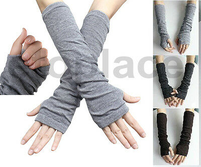 Women Stretchy Long Sleeve Fingerless Gloves Cotton Blend Arm Warmers Sleeves