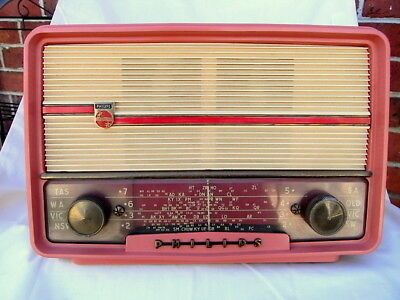 1950's PHILIPS PINK VALVE RADIO