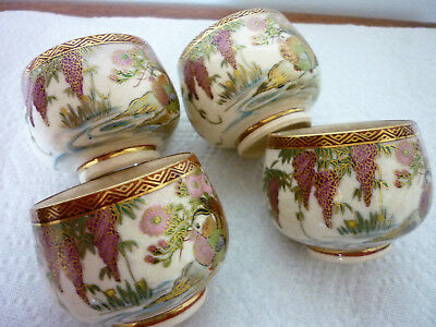 4 Vintage Satsuma Cups Soko-China Hand Painted Japan Flowers Birds