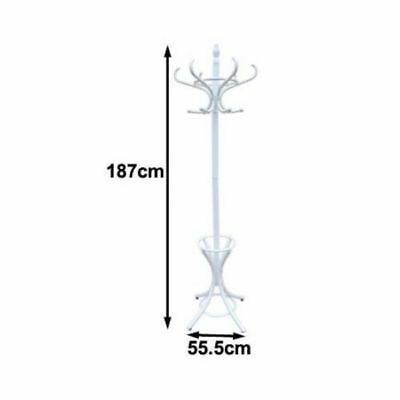 Wooden Coat / Hat Stand with 12 Hooks - Tree Style with Base Ring Umbrella Stand