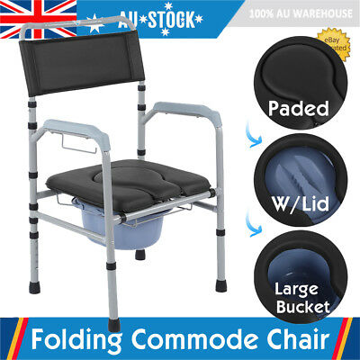 Folding Commode Chair Bathroom Bedside Shower Toilet Potty Seat Adjustable Paded