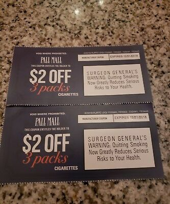 Pall Mall Cigarette Coupons $4.00 OFF