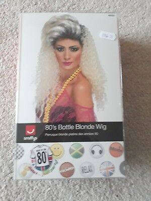 Ladies 1980s Crimped Wig Bottle Blonde Long Curly Wig Quiff Style Fancy Dress