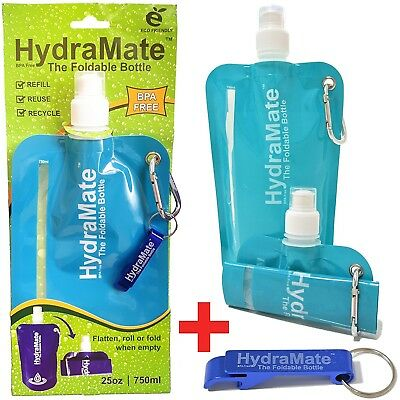 (Aqua Blue, 750ml Pack of 2) - HydraMate FOLDABLE WATER BOTTLE - BPA Free.