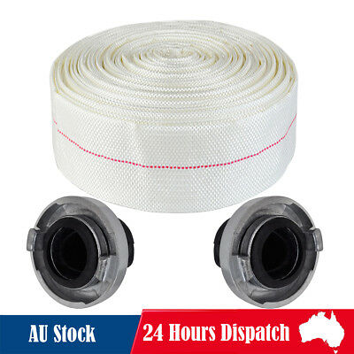 "30M Canvas Fire Hose Reel 2"" Fighting Lay Flat Water C Storz Coupling Fitting"