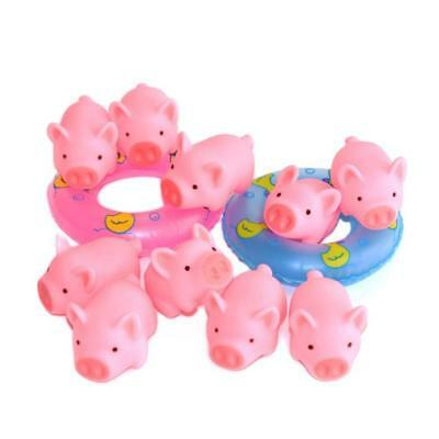 10PCS Plastic Bloomood Cute Pig Baby Bath Toy With 2 Mini Swimming Ring Toy T