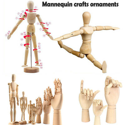 AU Wooden Hand Body Artist Model Jointed Articulated Wood Sculpture Mannequin
