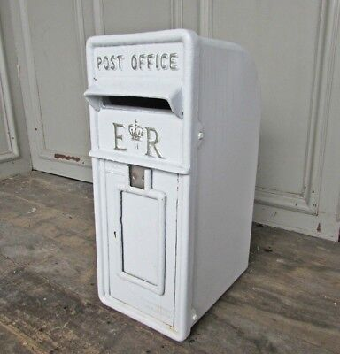 Cast Iron Royal Mail Post Box ER Post Office Letter Box - White. BUY NOT HIRE