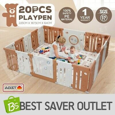 20 Panel Baby Playpen Kids Interactive Toddler Plastic Safety Gate Divider Lock