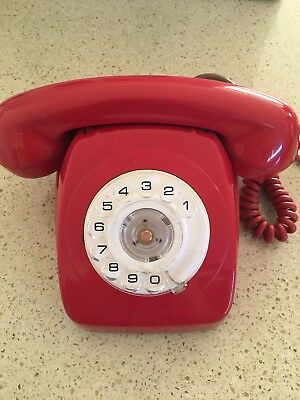 Vintage Telephone Red Table Dial Phone  Antique Australian model.