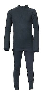 (Size 3/4, Black X) - Trespass Kid's Unite360 Warm Thermal Base Layer Set