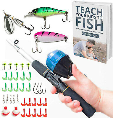 Kids Fishing Pole Combo Set   All-in-One Youth Fishing Kit Includes