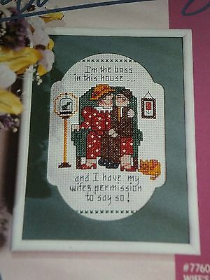 """""""For Women Only"""" Wife's Permission Counted Cross Stitch Picture Kit 5x7"""