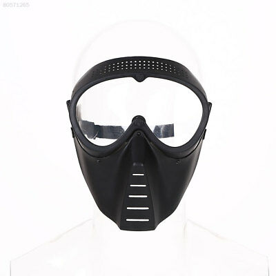 8F6B Protective Airsoft Paintball Game Tactical Full Face Black Lens Helmet Mask