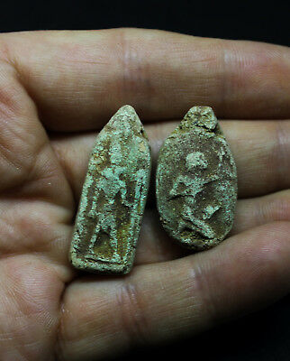 Antique Egyptian Terracotta Faience Galss Amulets x 2