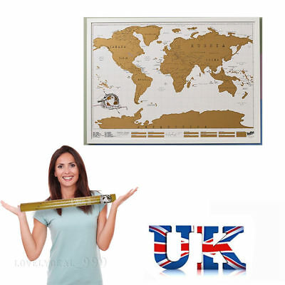 Big Scratch Off World Map Deluxe Edition Travel Log Journal Poster Wall Decor *
