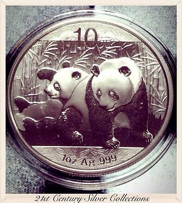 Flawless Gem 2010 1 Oz Chinese Silver Panda Coin .999 Pure 10 yuan