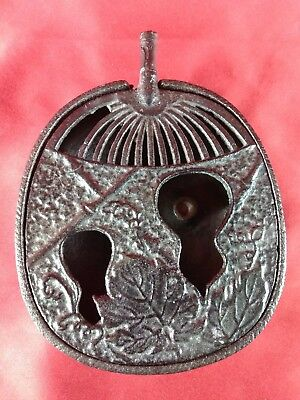 Vintage Japanese Cast Iron Incense Burner Ashtray Fan Leaf Shape Marked JAPAN