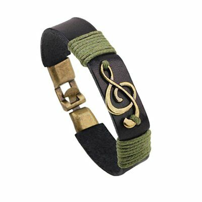 Fashion Women Handmade Multilayer Leather Alloy Music Beads Weave Wrist Band MB