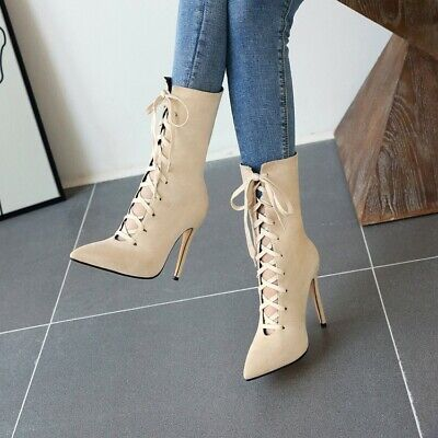 Womens Ankle Boots Lace Up Combat British Oxford Flat Heel Shoes Uk Sz35-43