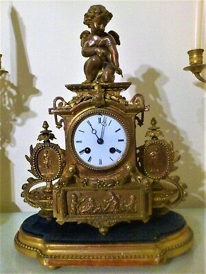 Antique French Gilt Figural Mantel Clock & Base.